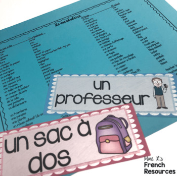 French school supplies word wall MUR DE MOTS FOURNITURES