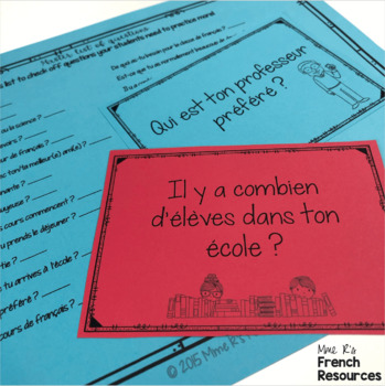 French school supplies and classroom items speaking activity