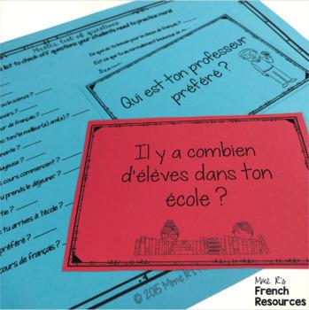 French speaking activity SCHOOL SUPPLIES