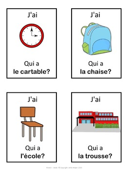 French school words  J'ai ... Qui a ...? game