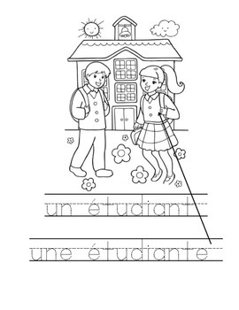 French school words pack of 40 colouring sheets great for bell work and practice