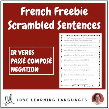 French scrambled sentences IR VERBS - Passé Composé - Negation Distance Learning
