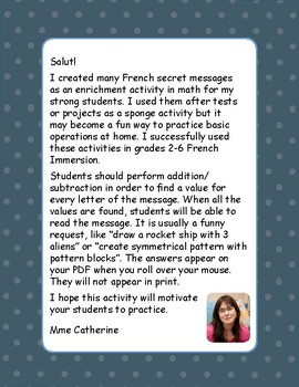 French secret message. Secret Message. Math. Addition 4