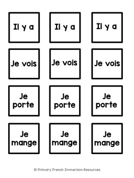 French sentence building cards