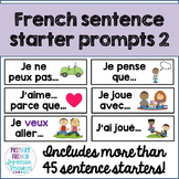 French sentence starter prompts - volume 2