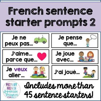 French sentence starter prompts - volume 2
