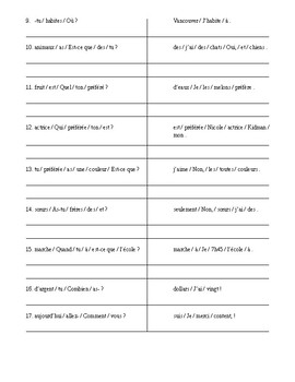 French sentence structure - practice & Answer KEY