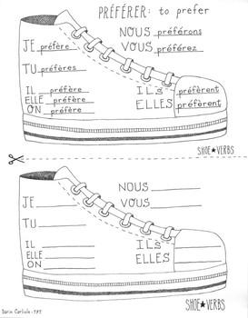French shoe verb ~Preferer ~Boot verb chart ~No Prep ~French verb conjugation