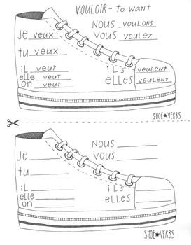 French shoe verb ~Vouloir ~boot verb chart ~No Prep ~French verb conjugation