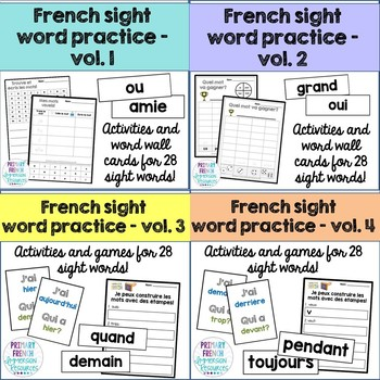 French sight word activities - Volumes 1-4 BUNDLE