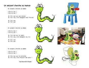 French song - Chanson: Un serpent cherche sa maman