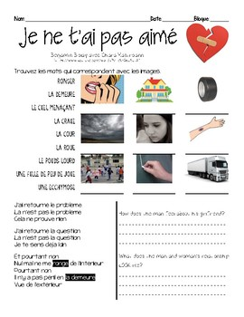 French song INTERMEDIATE listening activity: JE NE T'AI PAS AIME (object pron)