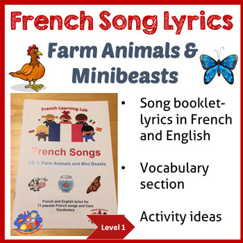 French Immersion - Song Lyric booklet - Farm Animals & Minibeasts