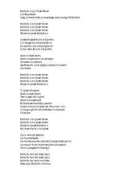 French song cloze activity: Isabelle a Les Yeux Bleus (Les Inconnus)