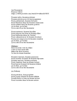 French song cloze activity: Les Faussaires (Francis Cabrel)