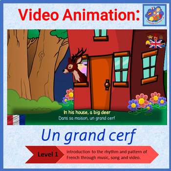 French song in video animation - Un grand cerf - Learn French