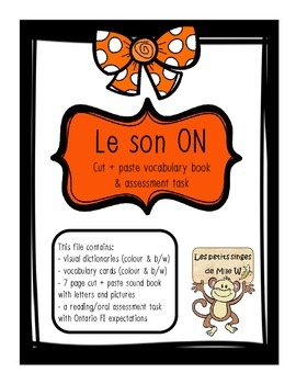 "French sound blend ""ON"" activity pack - le son on"