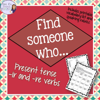 French speaking activity FIND SOMEONE WHO -ir and -re verbs