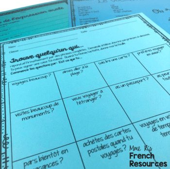 French speaking activity FIND SOMEONE WHO travel LES VOYAGES