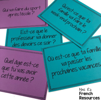 French speaking activity /le futur proche task cards