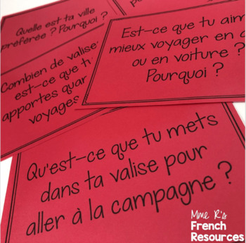 French speaking activity - travel vocabulary / les voyages