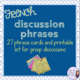 French speaking discussion prompts and sentence starters