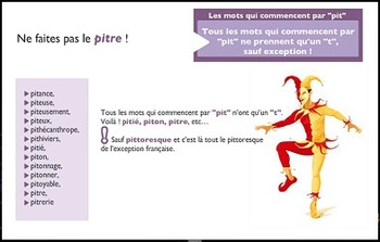 """French spelling and grammar, Orthochansons """"Pittoresque"""""""