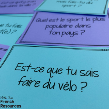 French sports speaking activity CONVERSATION CARDS