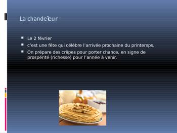 French spring holidays, mardi gras, easter, chandeleur etc..
