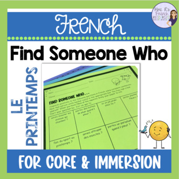French speaking activity FIND SOMEONE WHO SPRING LE PRINTEMPS