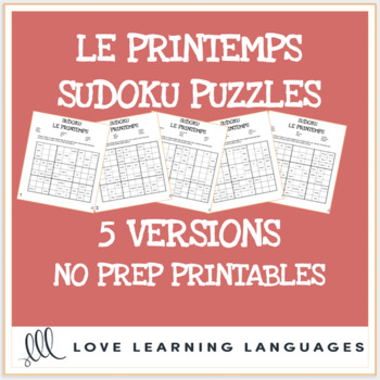 French spring vocabulary sudoku games - Le printemps