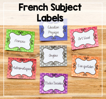 Chevron Themed French subject labels / Affiches de sujets
