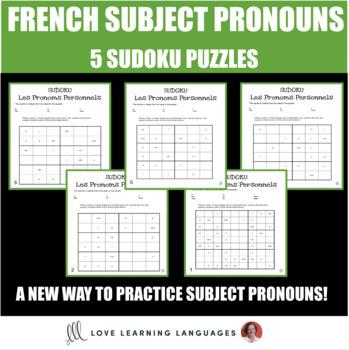 French subject pronouns sudoku games - Les pronoms personnels