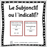 French subjunctive or indicative paired activities and worksheet