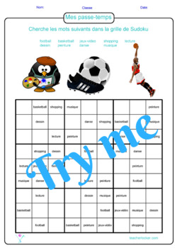 French Games - Activities : Sudoku puzzles