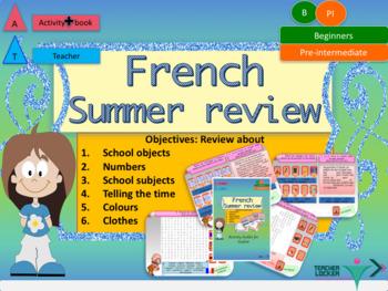 French summer revisions - summer homework for beginners full lesson