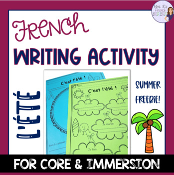 French summer writing activity - free