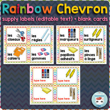 French supply labels RAINBOW CHEVRON
