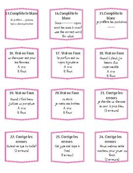 French task cards- les vêtements, demonstratives, quel vs qu'est-ce que.