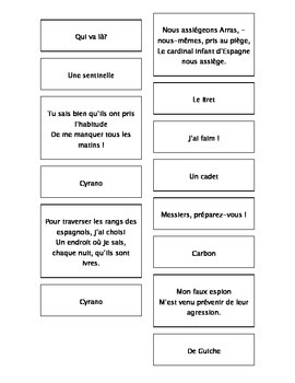French Teaching Resources. Cyrano De Bergerac Act 4 Matching Cards.