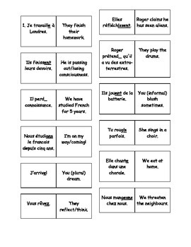 French Teaching Resources. The Present Tense Dominoes.