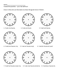 french telling time clock worksheets practice tpt. Black Bedroom Furniture Sets. Home Design Ideas