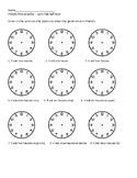 French telling time clock worksheets/practice