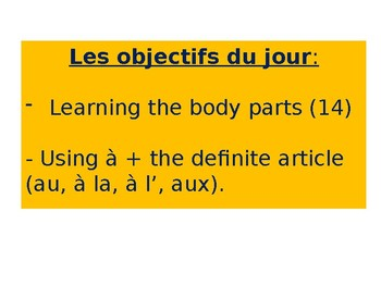 French - the body parts
