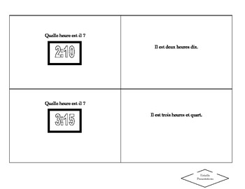 French time flash cards to print and cut out