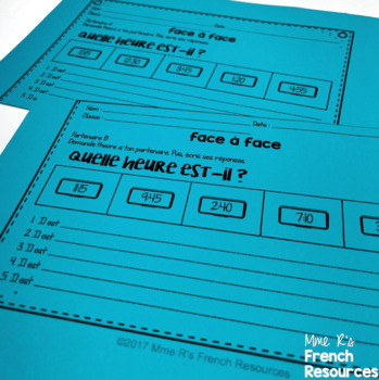 French time speaking and writing ACTIVITÉS POUR L'HEURE