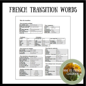 French transition words for upper level classes