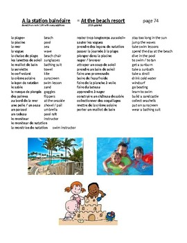 French vacation vocab lists