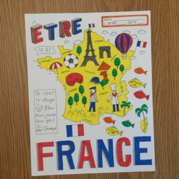 French verb Etre Map of France color by conjugation no prep printable