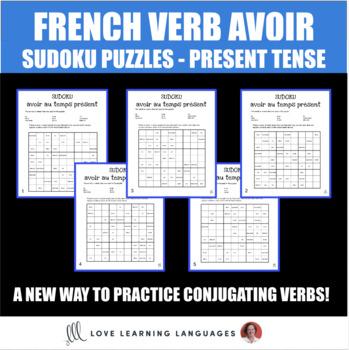 French verb avoir present tense sudoku games - Le verbe avoir au temps présent